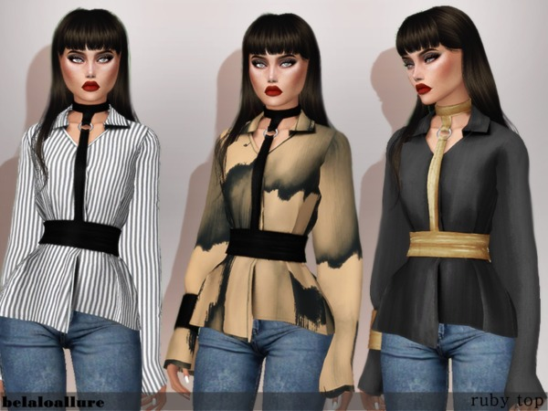 Sims 4 Ruby top by belal1997 at TSR
