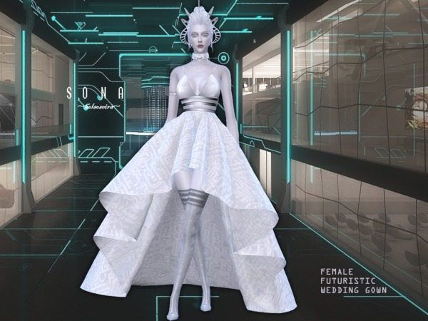 Sims 4 SONA Futuristic Wedding Gown by Helsoseira at TSR