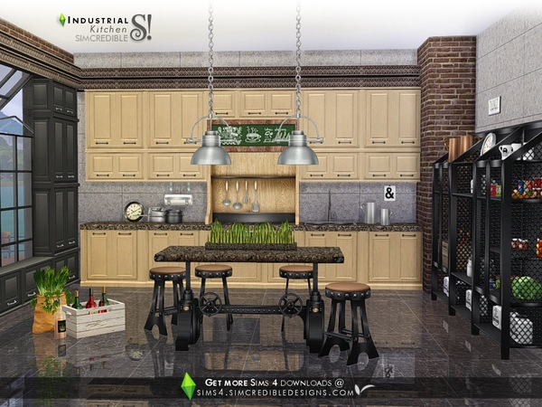 Industrial Kitchen by SIMcredible at TSR image 3919 Sims 4 Updates