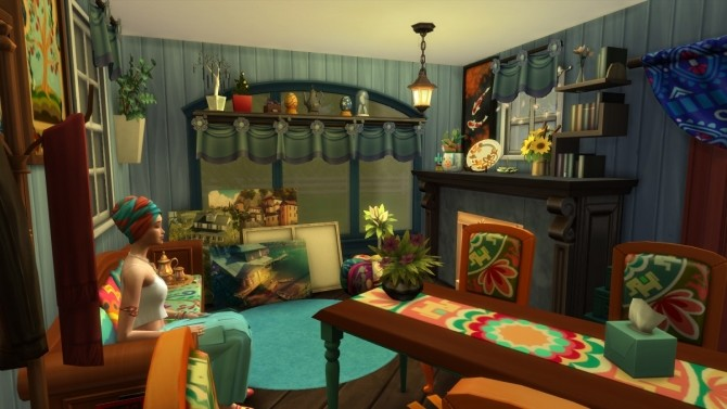 Sims 4 Bohemian cabin for sims artist by Moscowlyly at Mod The Sims