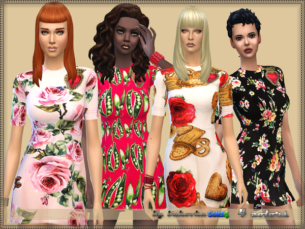 Sims 4 Dress Flowers 2 by bukovka at TSR