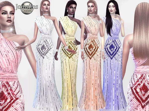 Sims 4 Silveltsid dress by jomsims at TSR