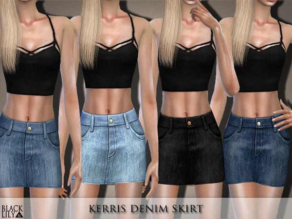 Sims 4 Kerris Denim Skirt by Black Lily at TSR