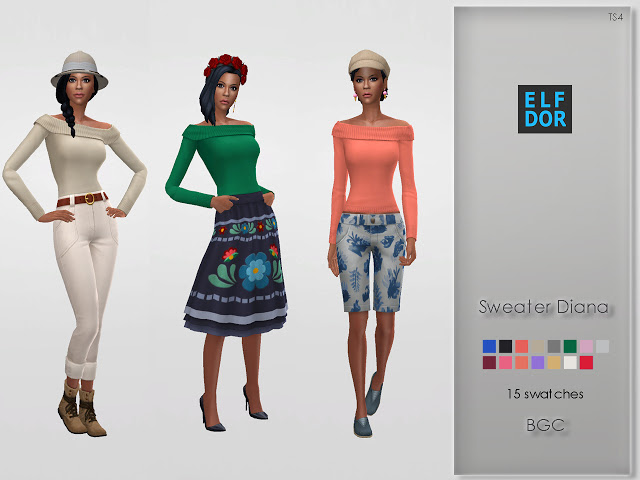 Sims 4 Sweater Diana at Elfdor Sims