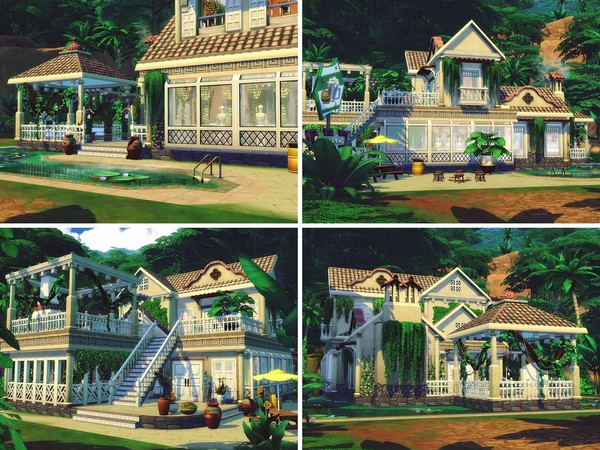 Sims 4 Jungle Restaurant by MychQQQ at TSR