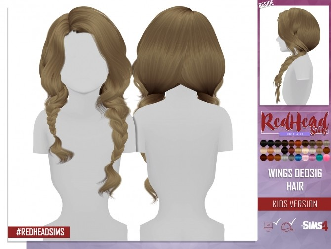 Sims 4 WINGS OE0316 HAIR KIDS AND TODDLER VERSION at REDHEADSIMS