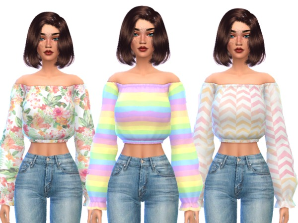 Sims 4 Kawaii Shoulder less Cropped Top by Wicked Kittie at TSR