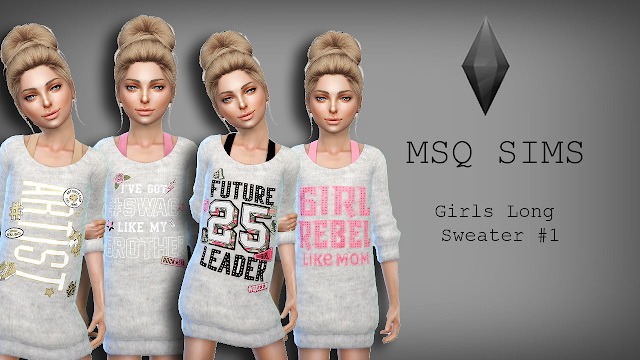 Sims 4 Girls Long Sweater #1 at MSQ Sims