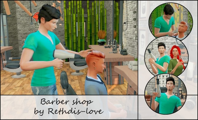 Barber shop posepack at Rethdis love image 586 670x405 Sims 4 Updates