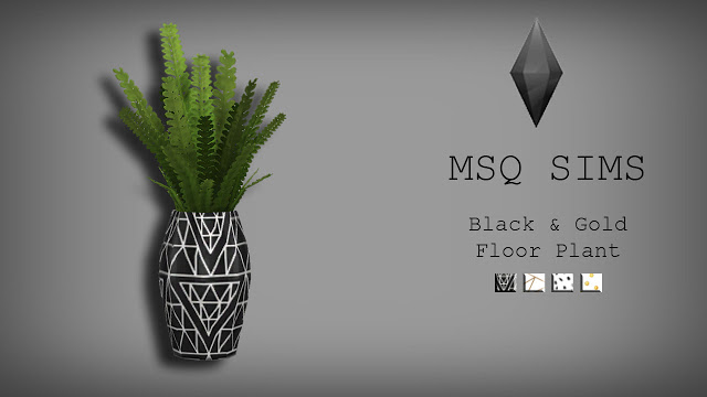 Black & Gold Floor Plant at MSQ Sims image 588 Sims 4 Updates