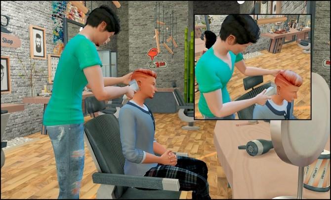 Sims 4 Barber shop posepack at Rethdis love