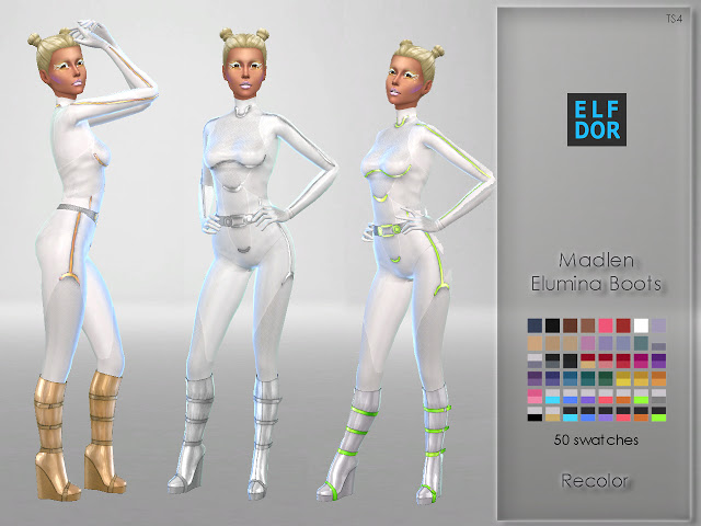 Sims 4 Madlen Elumina Boots Recolor at Elfdor Sims