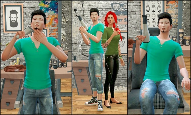 Barber shop posepack at Rethdis love image 636 670x405 Sims 4 Updates