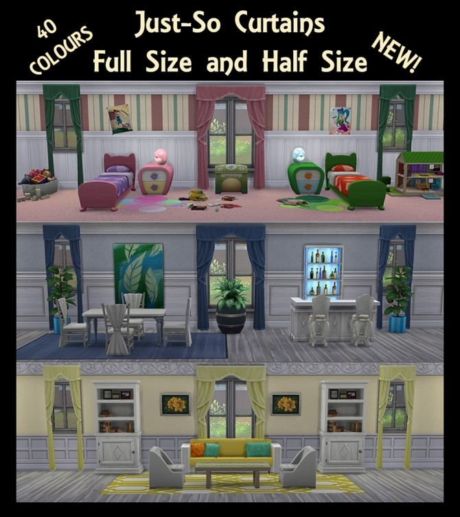 Just So Curtains Full and Half Size by Simmiller at Mod The Sims image 6614 670x753 Sims 4 Updates