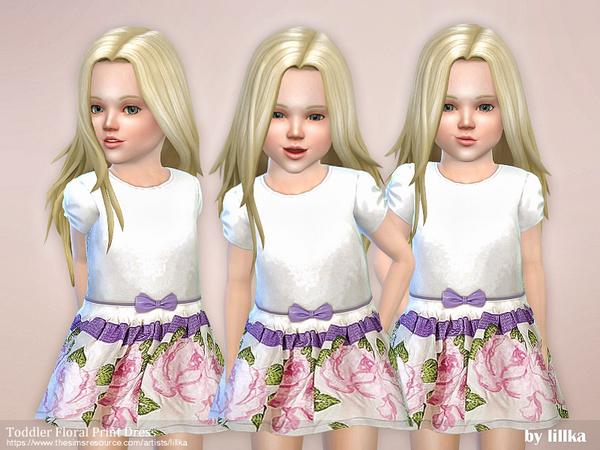 Sims 4 Toddler Floral Print Dress by lillka at TSR