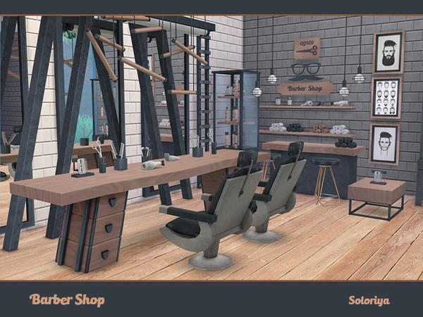 Sims 4 Barber Shop by soloriya at TSR