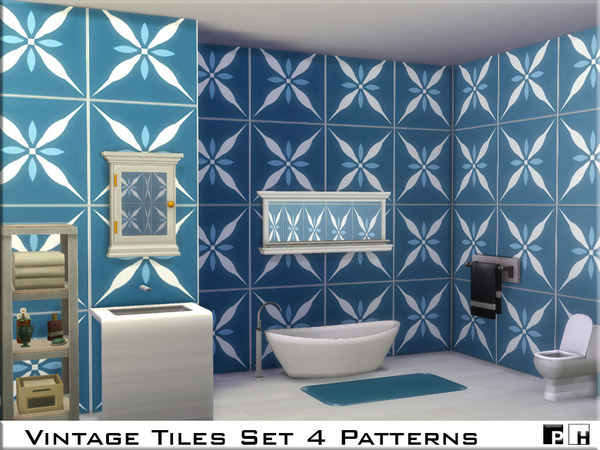 Sims 4 Vintage Tiles Set by Pinkfizzzzz at TSR