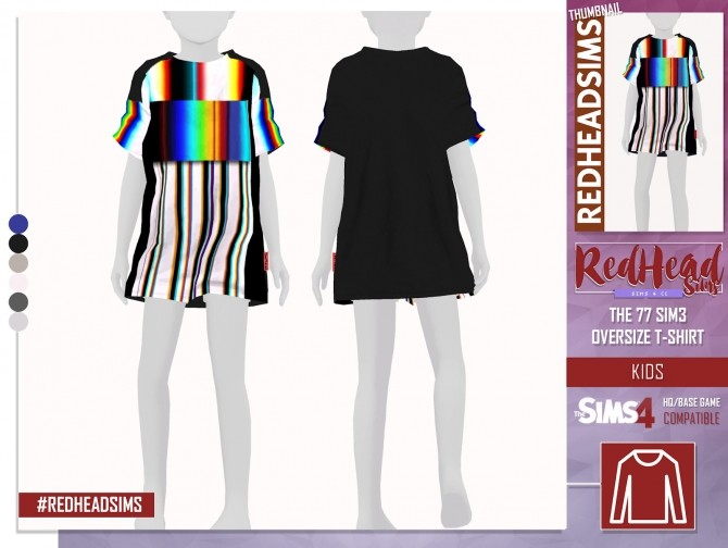 Sims 4 THE 77 SIM3 OVERSIZE T SHIRT TS4 KIDS at REDHEADSIMS