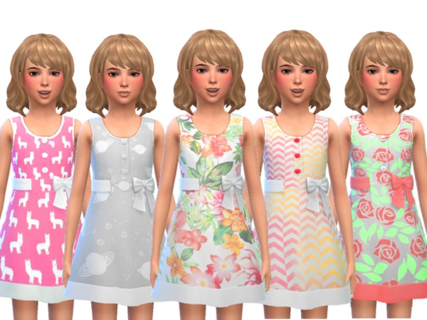 Sims 4 Adorable Girls Spring Dress by Wicked Kittie at TSR