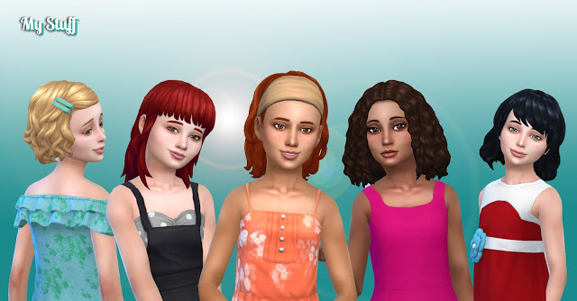 Sims 4 Girls Medium Hair Pack 9 at My Stuff