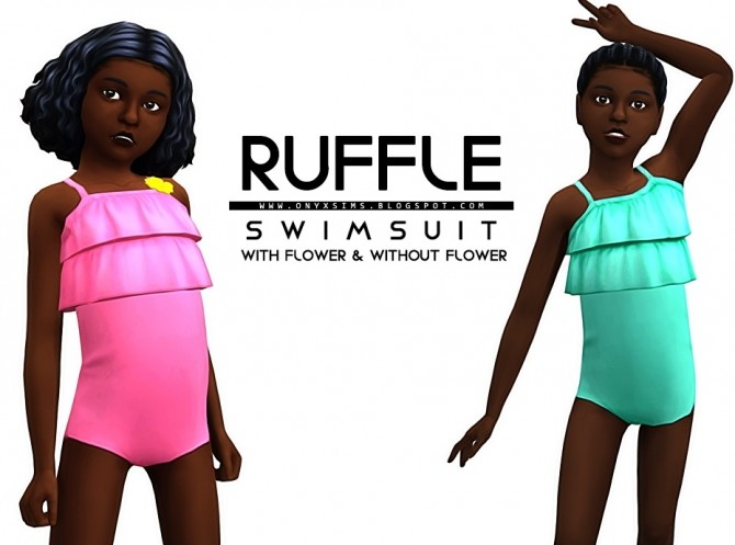 Ruffle Swimsuit for Girls at Onyx Sims image 812 670x497 Sims 4 Updates