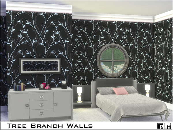 Sims 4 Tree Branch Walls by Pinkfizzzzz at TSR