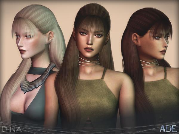 Sims 4 Dina hair by Ade Darma at TSR