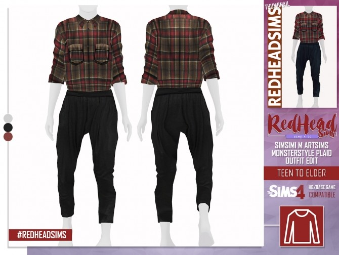 SIMSIMI M ARTSIMS MONSTERSTYLE PLAID OUTFIT EDIT at REDHEADSIMS – Coupure Electrique image 8710 670x504 Sims 4 Updates