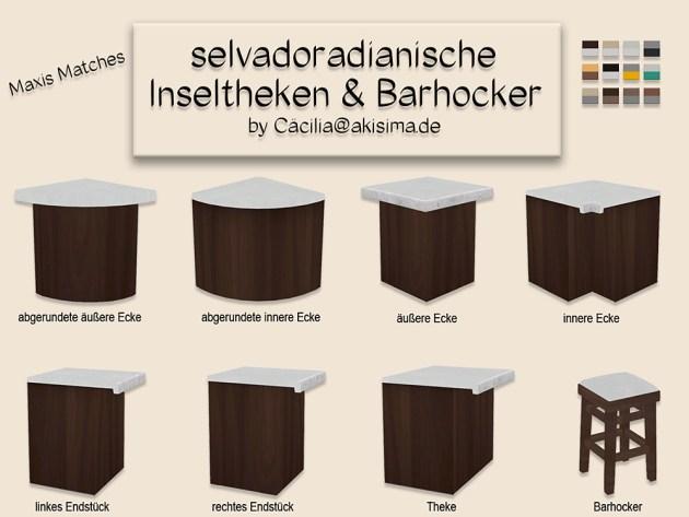 Selvadorada island counters & bar stools by Cäcilia at Akisima image 943 Sims 4 Updates