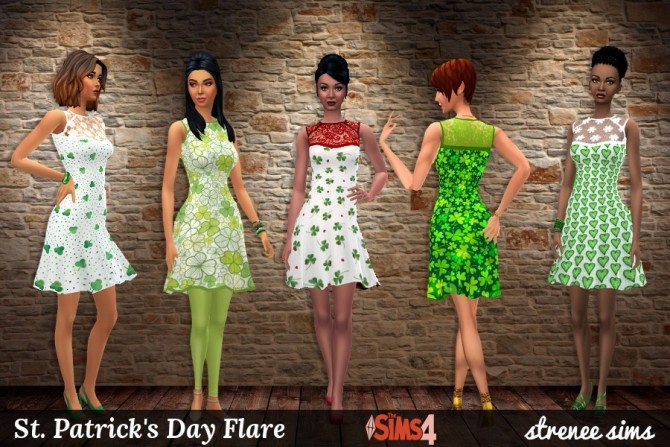 Sims 4 St. Patrick's Day Flare at Strenee Sims