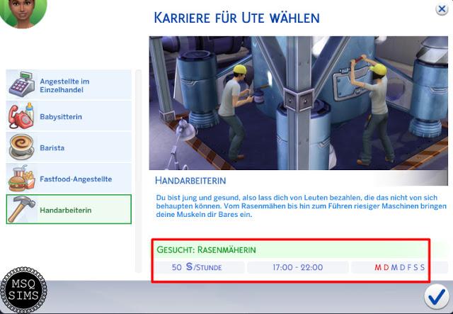 Sims 4 Manual Labor Fulltime Job For Teens at MSQ Sims