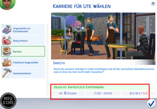 Sims 4 Barista Fulltime Job For Teens at MSQ Sims