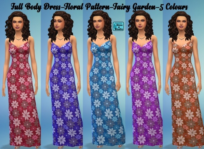 Sims 4 MAXI Dress 3 Patterns 17 Colours by wendy35pearly at Mod The Sims