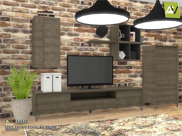 Lena Living Room TV Units by ArtVitalex at TSR image 1013 Sims 4 Updates