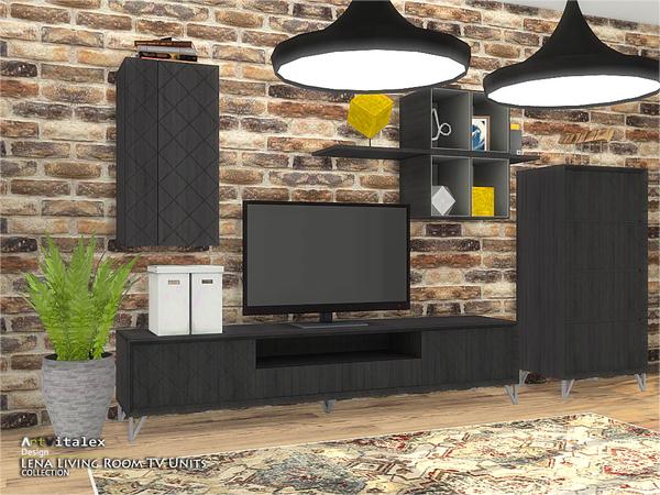 Lena Living Room TV Units by ArtVitalex at TSR image 1022 Sims 4 Updates
