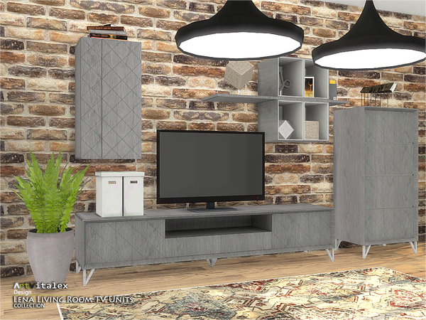 Lena Living Room TV Units by ArtVitalex at TSR image 1032 Sims 4 Updates