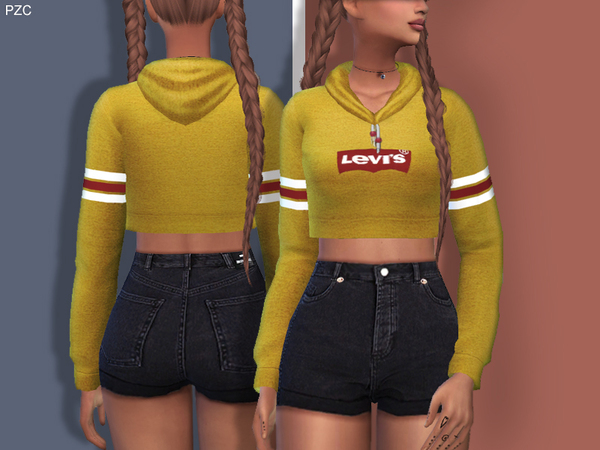 Sporty and Everyday Hoodie by Pinkzombiecupcakes at TSR image 1049 Sims 4 Updates