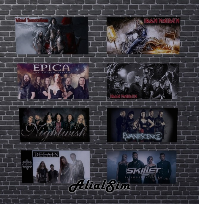 Band posters and top at Alial Sim image 1069 670x688 Sims 4 Updates