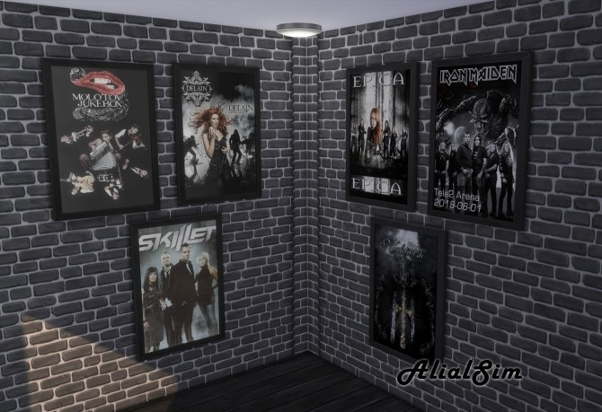 Sims 4 Band posters and top at Alial Sim