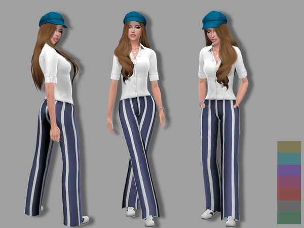 Nautical cotton pants and top by Simalicious at TSR image 1127 Sims 4 Updates
