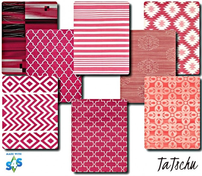 Sims 4 Pretty in pink Rug Collection at TaTschu`s Sims4 CC