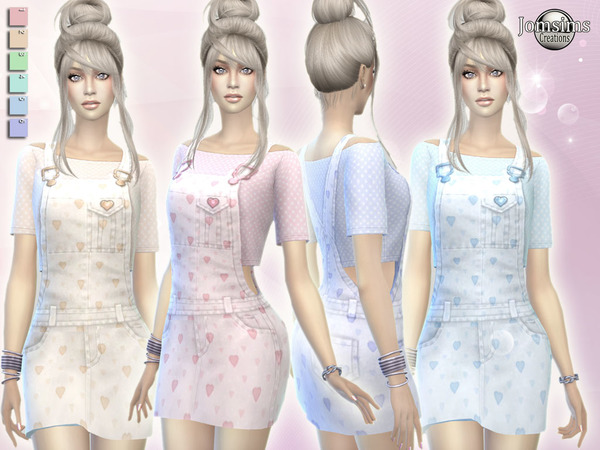 Erzina overalls short dress by jomsims at TSR image 1226 Sims 4 Updates
