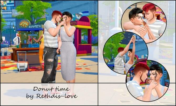 Donut time posepack at Rethdis love image 124 670x405 Sims 4 Updates
