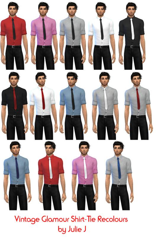 Sims 4 Vintage Glamour Shirt & Tie Recolours at Julietoon – Julie J