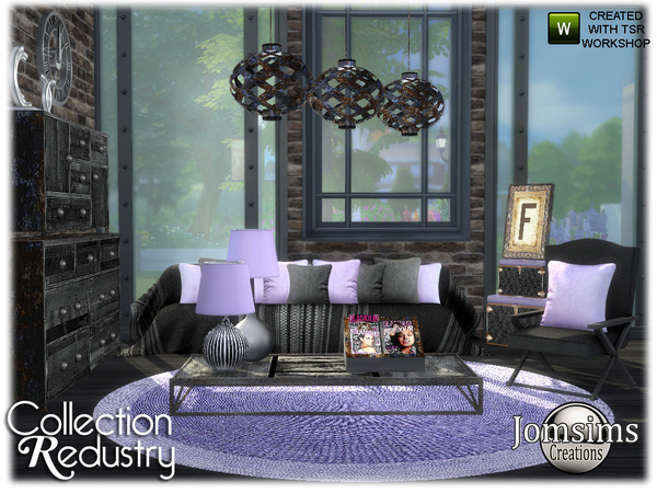 Redustry living room by jomsims at TSR image 1303 Sims 4 Updates