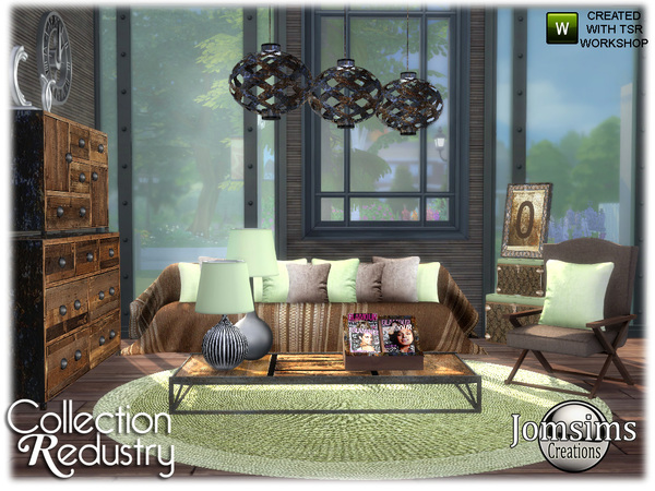 Redustry living room by jomsims at TSR image 1316 Sims 4 Updates