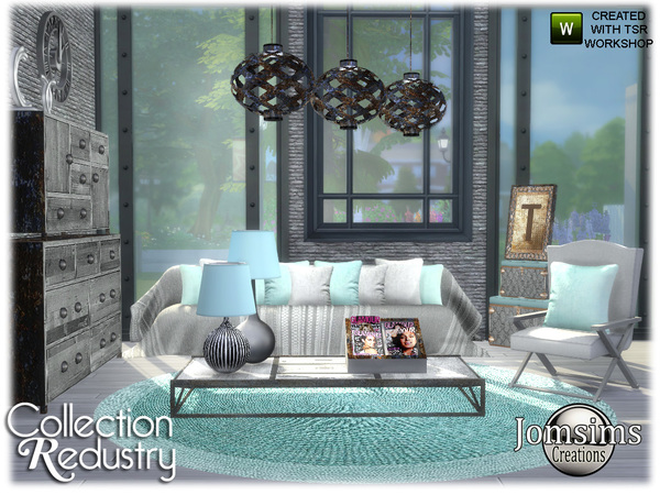 Redustry living room by jomsims at TSR image 1323 Sims 4 Updates