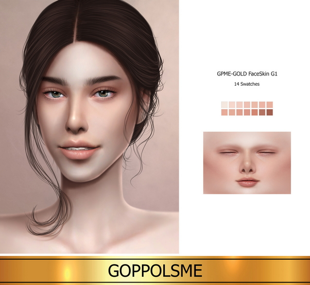 Sims 4 GOLD Face Skin G1 (P) at GOPPOLS Me