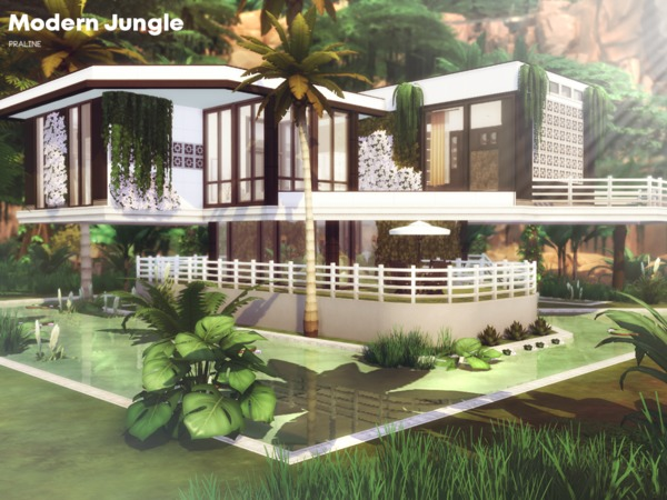 Sims 4 Modern Jungle house by Pralinesims at TSR