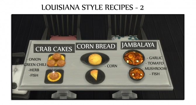 Louisiana Style Recipes 2 Cornbread, Crabcake and Jambalaya by icemunmun at Mod The Sims image 1663 670x358 Sims 4 Updates